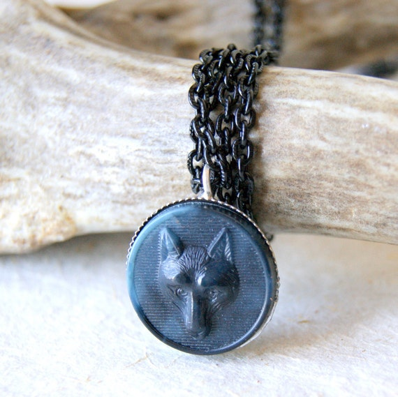 Wolf Necklace vintage plastic wolf with vintage black enameled chain eco friendly fashion