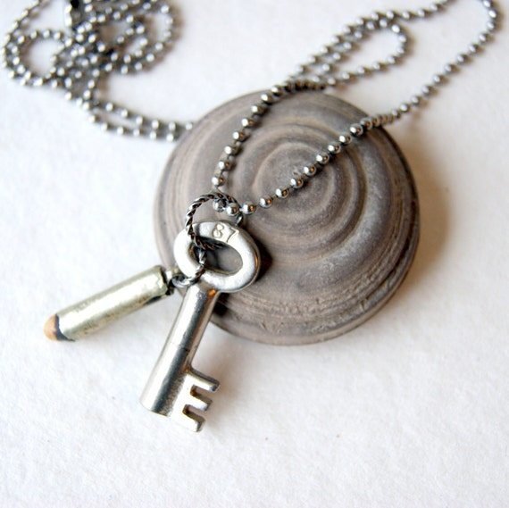 Skeleton key necklace - vintage key necklace - antique fertility bead necklace - stainless steel ball chain - key jewelry - reclaimed