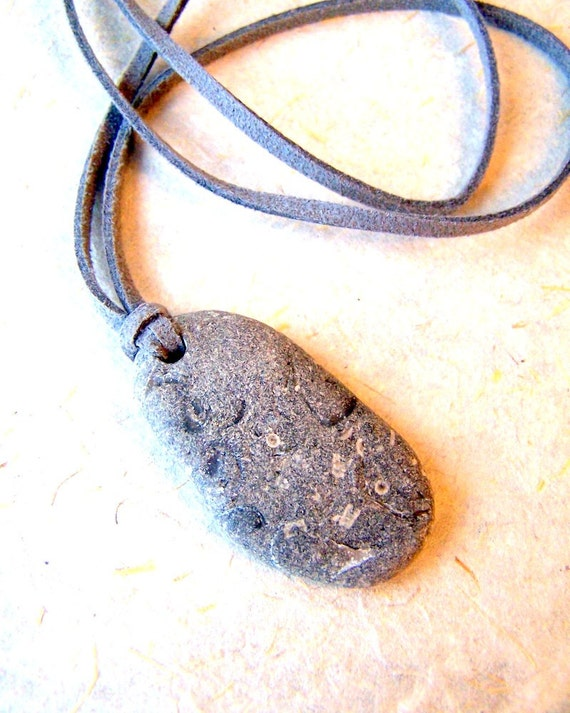 Beach Stone Necklace - gray stone - gray suede cord - summer fashion - Handmade by BlackStar