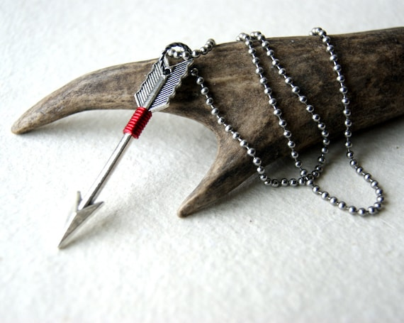 Arrow Necklace Wire Wrapped with Red Wire - Silver Arrow Necklace - Arrow Jewelry - Arrow Necklace  - Sagittarius necklace - bohemain - boho