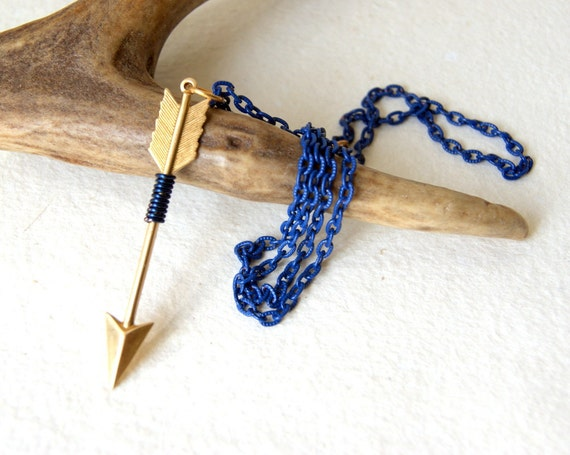 Arrow necklace, wire wrapped brass arrow, navy blue wire, vintage royal blue enamel chain, archery - Handmade by BlackStar