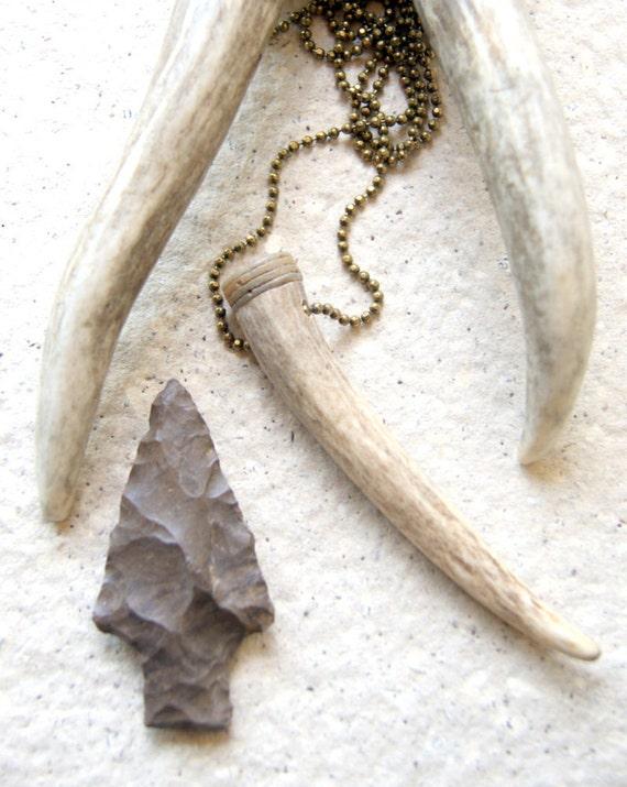 Antler necklace  antler tip with crinoid stem tribal boho unisex under 40
