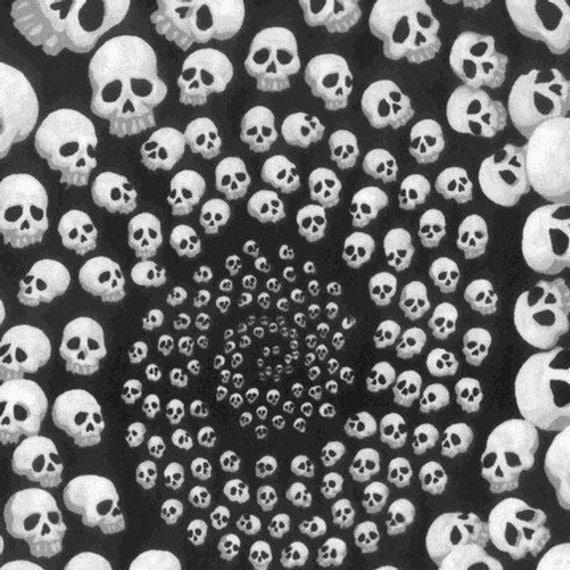 Black and White Skullfinity Fabric by Alexander Henry
