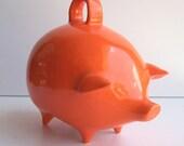 Mexican Piggy Bank Vintage Design in Orange Retro Mod Home