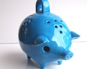 Mexican Piggy Lantern and Incense Burner Vintage Design in Turquoise - fruitflypie