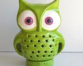 Owl Night Light  Lamp Vintage Design Chartreuse Green Ceramic Retro Home Mod Decor Great Birthday Gift