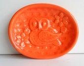 Soap Dish Ceramic Owl Tray in Orange