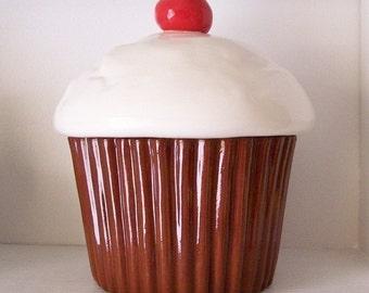Ceramic Chocolate Cupcake Cookie Jar Great Housewarming Gift Cupcake Lover