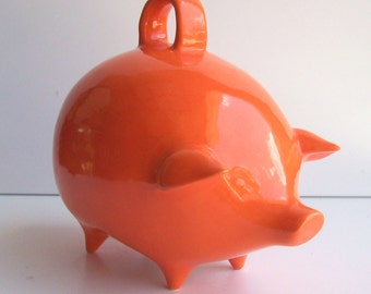 Mexican Piggy Bank, Ceramic Coin Bank, Vintage Design, Orange Pig, Mod Decor, Pig Money Box, Orange Room Decor, First Birthday, Savings