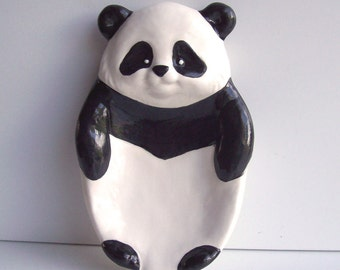 Panda Bear, Soap Dish, Soap Tray, Spoon rest, Vintage Design, Ceramic, Black and White Room Decor