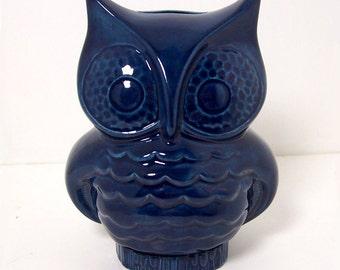 Ceramic Owl Bank Vintage Design Navy Blue