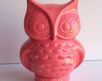 Ceramic Owl Planter Vintage Design in Coral Pink Owl Vase Home Decor