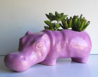 Ceramic Hippo Planter Vintage Design Lavender Purple Succulent Planter Flower pot Hippopotamus