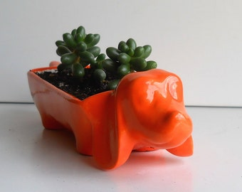 Dachshund Planter, Ceramic, Vintage Design, Orange, Wiener Dog Gift, Condiment Dish / Cracker Tray / Olive Tray, Housewarming Gift, Dog Gift