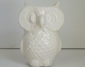 Ceramic Owl Planter Vase Vintage Design Lemon By Fruitflypie