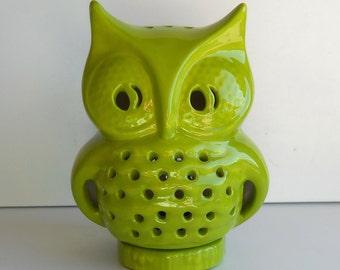 Owl Lantern, Incense burner, Candle Luminary, Candle lamp, Green Home Decor, Owl Figurine, Vintage Design, Bird decor, Patio Decor