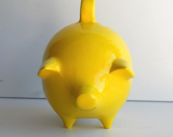 Mexican Piggy Bank Vintage Design in Lemon yellow Money Box Great Housewarming Gift Pig lover Money Bank