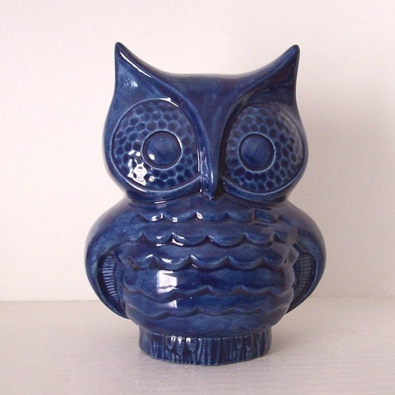 Ceramic Owl Planter Vintage Design Navy Blue Preorder