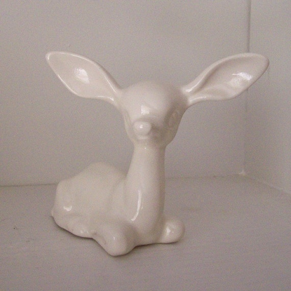 Ceramic Deer Figurine Vintage Design White Mod Fawn Woodland Theme
