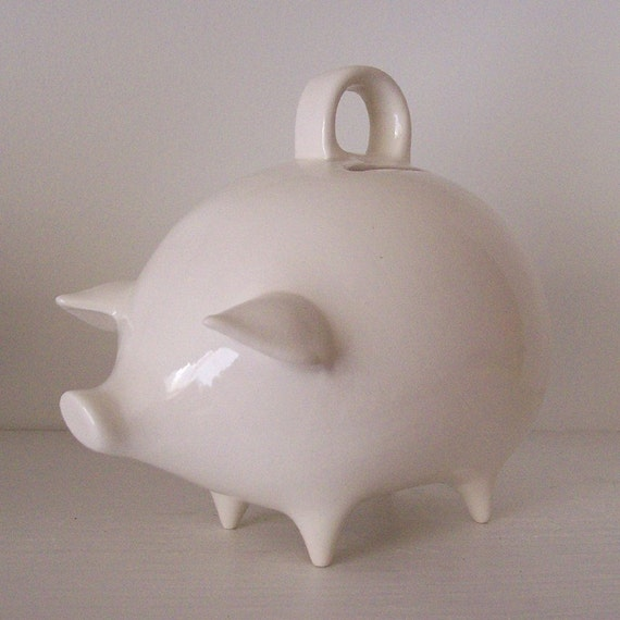 Mexican Piggy Bank Vintage Design in White Great First Birthday Baby Shower Gift