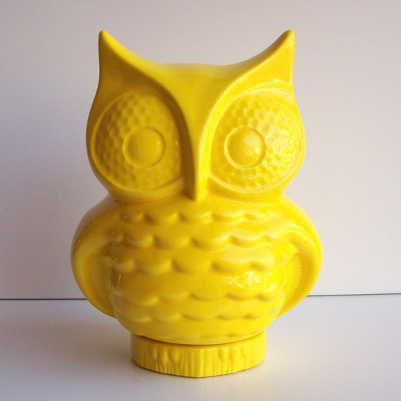 Items similar to owl bank owl piggy bank money box vintage design lemon yellow retro home - Home accessories yellow ...