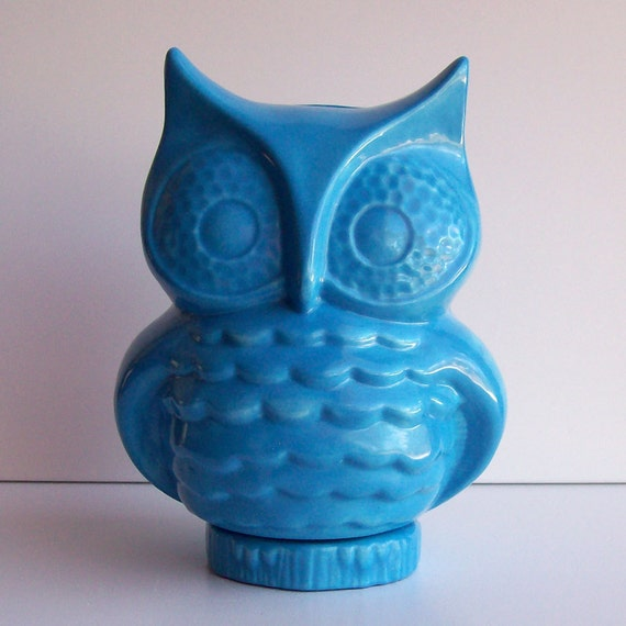 Ceramic Owl Bank Vintage Design Turquoise Blue Retro Mod Piggy Bank