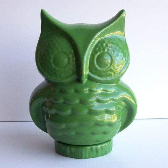 Owl Planter, Owl Vase, Desk Planter, Vintage Design, Grass Green Owl Decor, Flower Vase, Cactus Planter, Owl Office Decor, Mothers Day Gift
