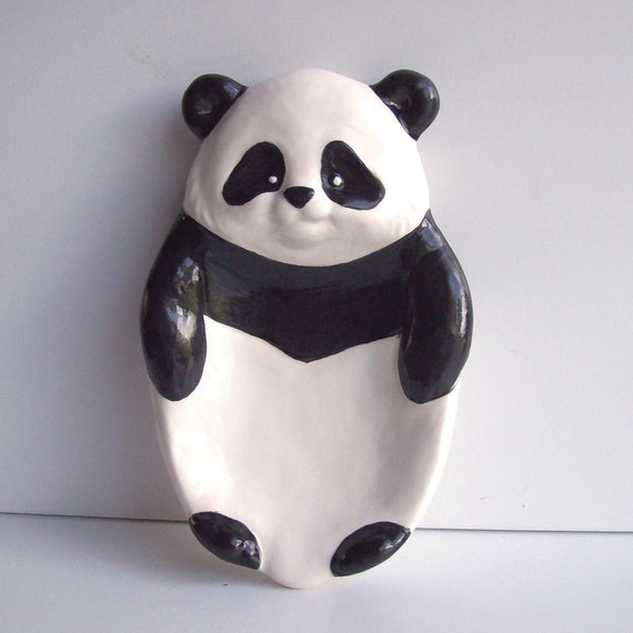 Ceramic Panda Bear Soap Dish Tray / Spoon rest Vintage Design Spoon Holder Black and White