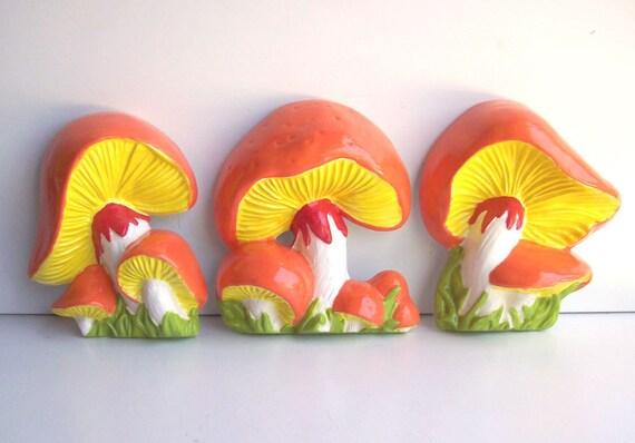 Ceramic Mushroom wall Plaques Wall Hanging Art  Orange and Yellow Vintage Design Kitchen Decor