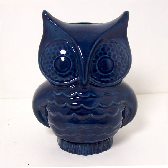 Ceramic Owl Planter Vintage Design Navy Blue owl Vase Pencil Holder Retro Mod Home Decor
