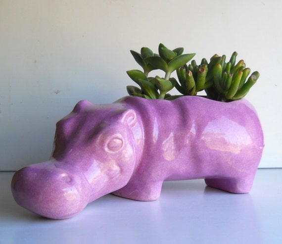 Ceramic Hippo Planter Vintage Design Lavender Purple Succulent Planter Flower pot