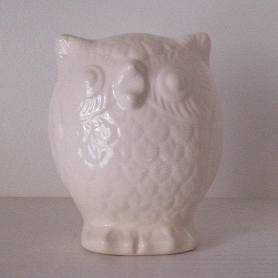 Ceramic Owl Figurine Vintage Design White