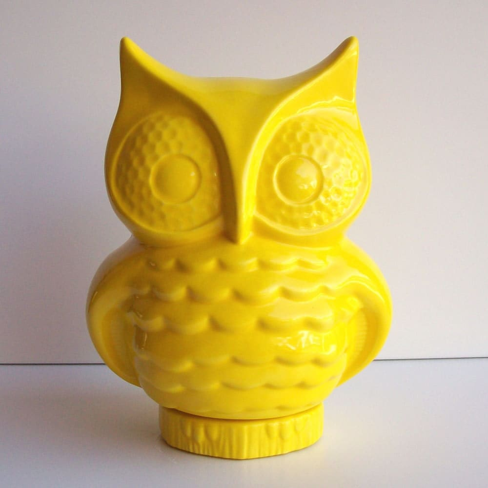 Owl bank owl piggy bank money box vintage design lemon - Home accessories yellow ...