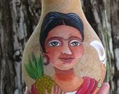 Frida Kahlo Inspired Painted Gourd art, 6 inches Ayala