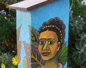 Frida Kahlo Blue House Birdhouse Outhouse Original painting OOAK by Ayala Art