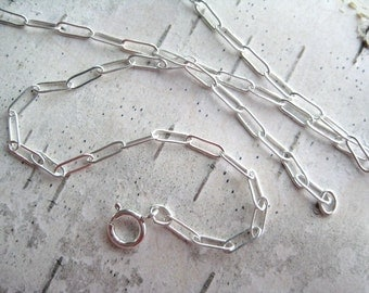18 inch Flat Cable Chain for Pendants - Sterling Silver