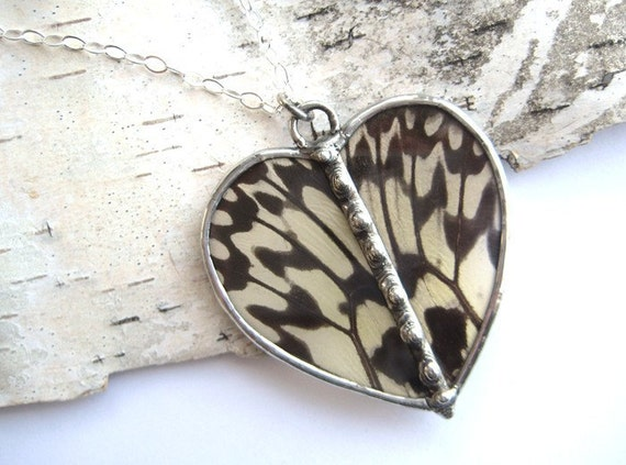 You make my heart flutter- Real Butterfly Wing Necklace, heart shaped RESERVED