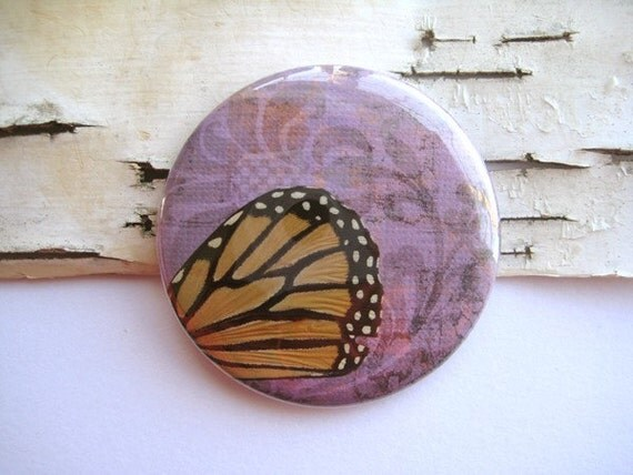 Real Monarch Butterfly Wing Pocket Mirror - carry nature with you