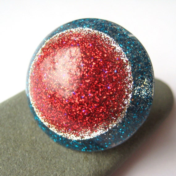 Hey Sailor-  Glitter Pop Party Ring, ruby and teal