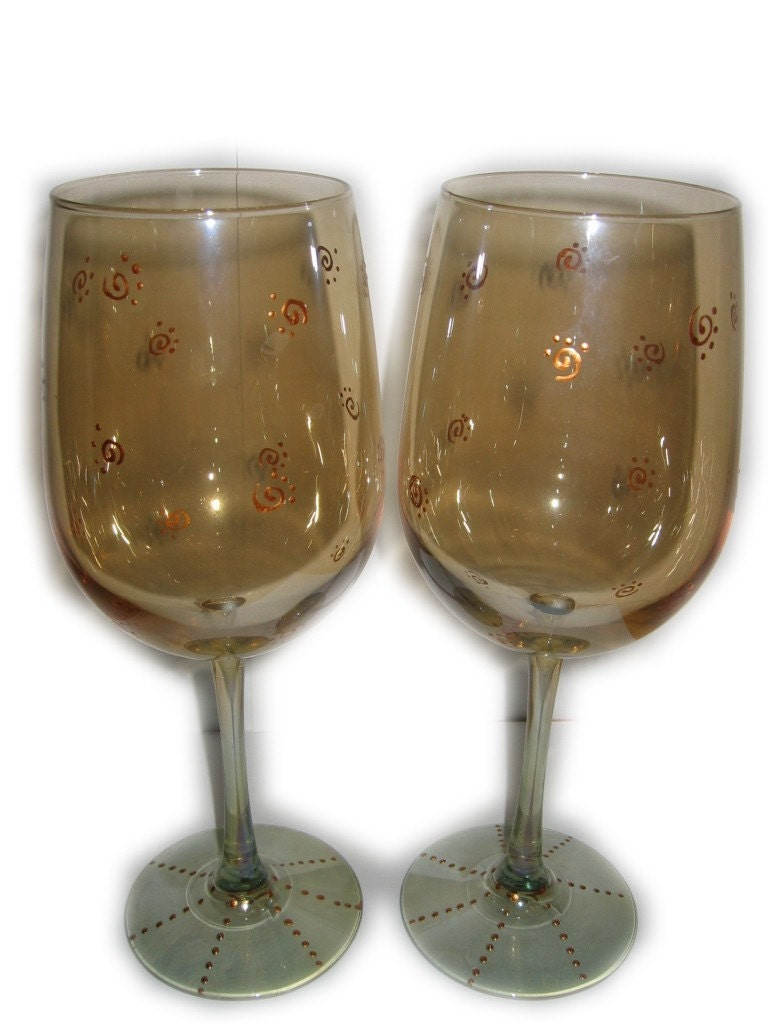 Pair Of Hand Painted Wine Art Glasses Design Swirls Unique