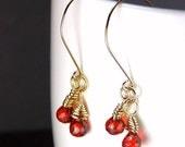 Gold Red Drop Earrings Cubic Zirocnia Red Dangle Earrings Ample Goddess Jewelry