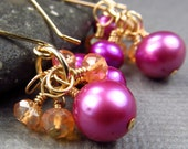Gold Bright Pink & Orange Cluster Earrings Mystic Quartz Gemstones Freshwater Cultured Pearls