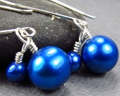 Blue Pearl Earrings Bridesmaid Jewelry Set Cobalt Dangle Pearl Earrings Ample Goddess Freshwater Cultured Pearls Blue Wedding