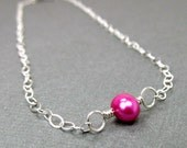 Pink Pearl Anklet Sterling Silver Ankle Bracelet Chain Anklet Delicate Ample Goddess Jewelry