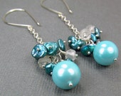 Long Teal Dangle Cluster Earrings Robin''s Egg Blue Dangle Earrings Sterling Silver Chain Turquoise Earrings Teal Wedding
