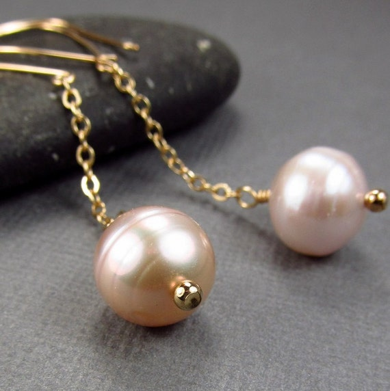Gold Pink Wedding Jewelry Long Pink Earrings Light Pink Pearl Earrings Pink Bridesmaid Earring Set Pale Pink Wedding Mother's Day Jewelry