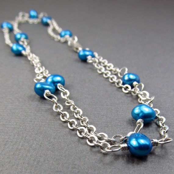 Aqua Blue Anklet in Sterling Silver Chain Double Stranded Sexy Ankle Bracelet Sea Blue Beachwear Summer Jewelry Ample Goddess Jewelry