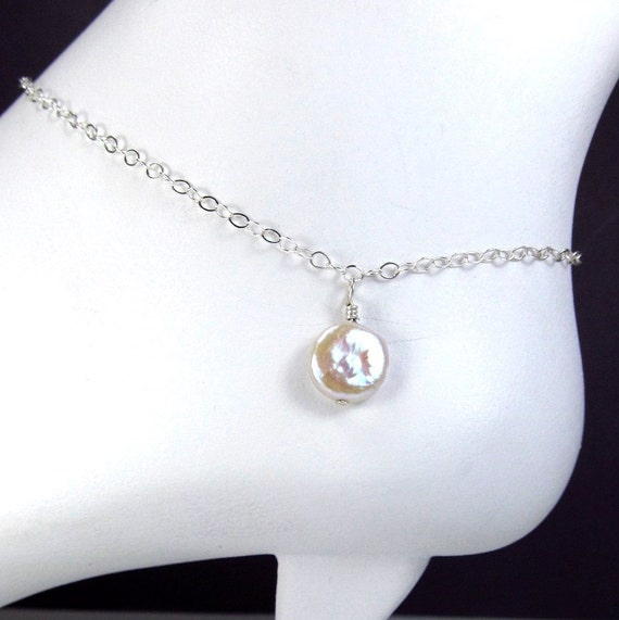 Delicate Silver Anklet Sterling Silver Chain Anklet White Pearl Ankle Bracelet Beach Wedding Jewelry Affordable Jewelry