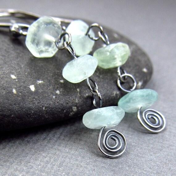 Pastel Green Earrings Rough Green Gemstone Earrings Affordable Jewelry Oxidized Black Earrings Sterling Silver Patina  Earrings