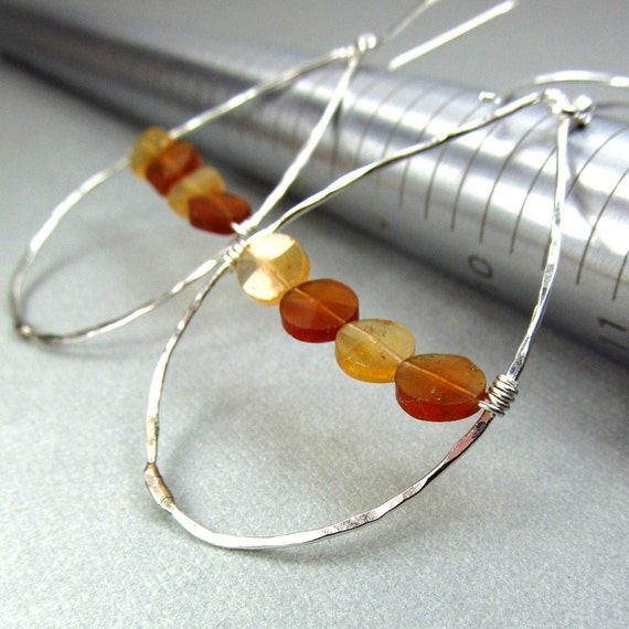 Modern Earrings Colorblock Geometric Earrings Gemstone Hoops Contemporary Orange & Gold Earrings Bohemian Fashion Jewelry
